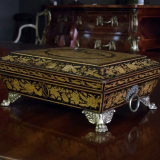 Regency Period Penwork Box On Metal Claw Feet