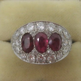 Triple Ruby and Diamond Cluster Ring.