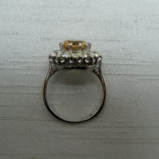 Golden Topaz and Diamond Cluster Ring.