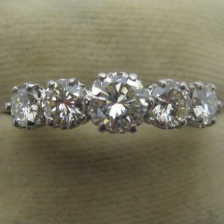 1960's White Gold Five Stone Diamond Ring