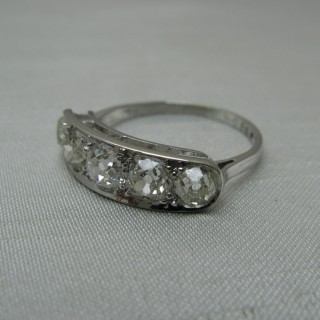 Platinum Five Stone Diamond Art Deco Ring