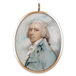 Portrait miniature of a Gentleman, wearing pale green-blue coat with brass buttons overt tied white cravat, his powdered hair worn en queue