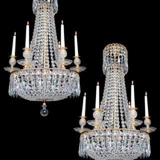 A SMALL PAIR OF CLASSIC REGENCY CHANDELIERS BY JOHN BLADES