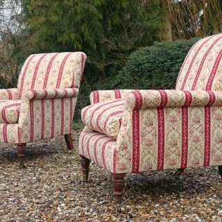 Pair of Antique LIbrary Chairs made by Howard and Sons of London