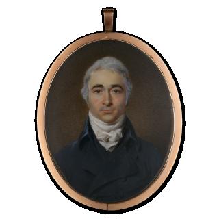 Portrait miniature of a Gentleman, wearing white stock, black waistcoat and jacket