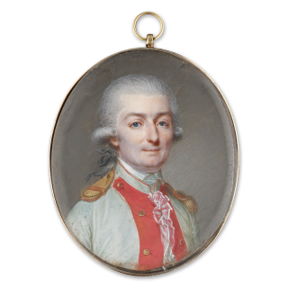Portrait miniature of An Officer called Monsieur de Saint-Marsault, wearing the uniform of a royal regiment infantry officer, his white uniform with red facings and gold epaulettes, his hair powdered and worn en queue