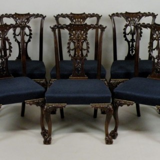 Set of 6 Chippendale style chairs.