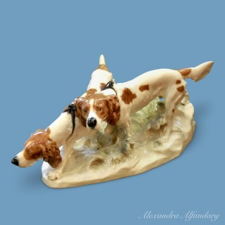 A Pair of Meissen Hunting dogs