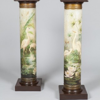 Pair of Decorated Tole Ware Pedestals with Birds and Water Lililies