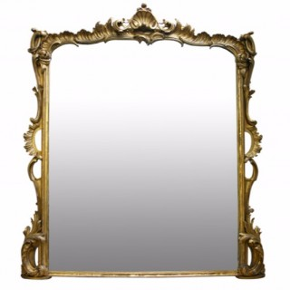 Victorian gilt wood overmantle mirror