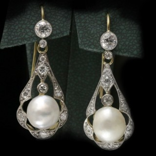 Antique natural pearl and diamond earrings, circa 1905.