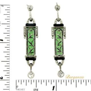 Art Deco diamond, onyx and jade earrings, circa 1925.