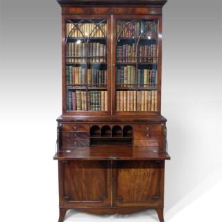 Fine quality Regency mahogany secretaire bookcas
