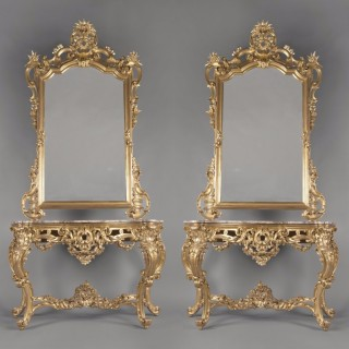 Rococo Style Console Tables and Mirrors