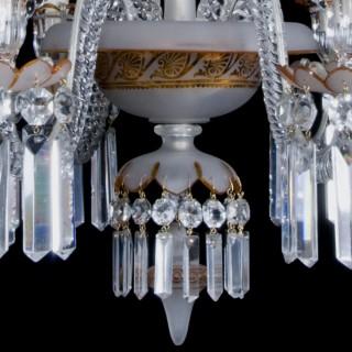Six-Light Lead Crystal and Gilt Chandelier