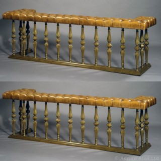 Pair of Large Brass and Leather Button-Upholstered Club Fenders