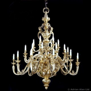 Large Gilt-Bronze Regence Style Thirty-Branch Chandelier