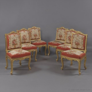 Set of Six Louis XV Style Giltwood Side-Chairs