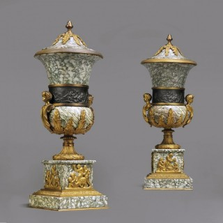 Pair of Gilt-Bronze Mounted Campan Marble Vases and Covers