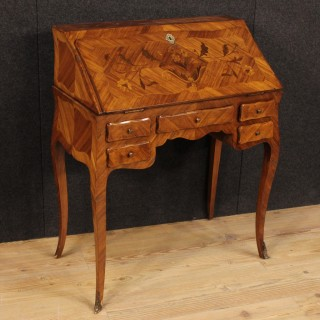 20th Century French Inlaid Bureau With Gilt Bronzes