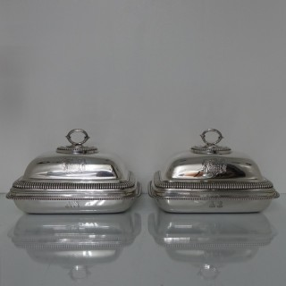Pair George III Entree Dishes London 1804 Paul Storr