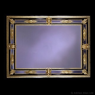 Napoléon III Gilt-Bronze and Ebony Bevelled Mirror