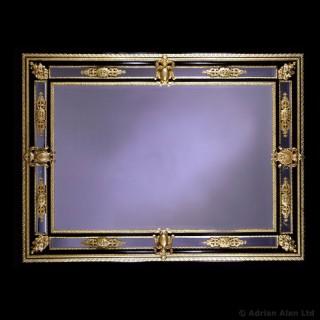Napoléon III Gilt-Bronze and Ebony Bevelled Mirror
