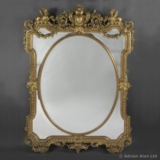 Louis XIV Style Carved Giltwood Marginal Frame Mirror