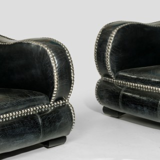 Exceptional pair of large Art Deco style armchairs