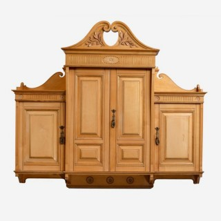 A pair of sycamore wall cupboards by Lamb of Manchester