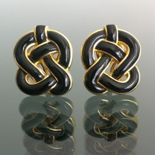 Gold and Onyx earclips