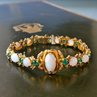 Victorian opal and emerald bracelet