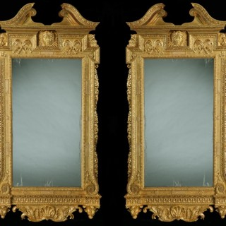 Pair of Giltwood Pier Mirrors in the Manner of William Kent