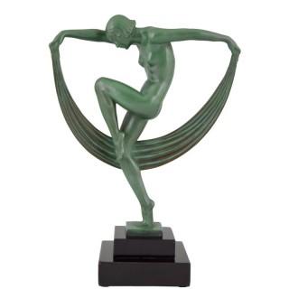 Art Deco Sculpture Of A nude Scarf dancer