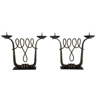 A Fine Pair Of Art Deco Wrought Iron Candelabra