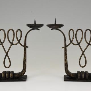 A Fine Pair Of Art Deco Wrought Iron Candelabra
