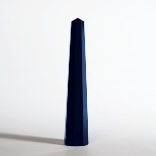 Octagonal Solid Blue Glass Obelisk by Venini