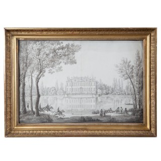 18th Century Pencil Drawing Of A Chateau In A Landscape in a Gold Gilt Frame