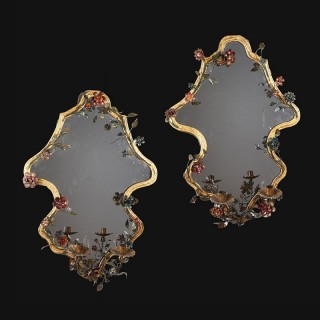 Pair of 28 inch Italian Tole Mirrors