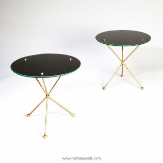 Pair Of Brass And Glass Mid Century End Tables