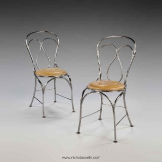 Pair Of Tubular Steel Chairs In The Manner Of Thonet