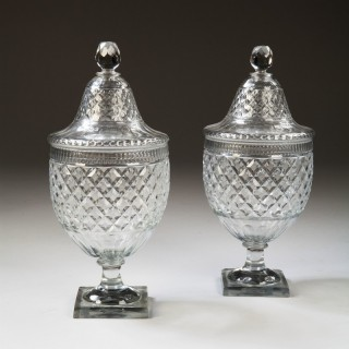 An overscale pair of Voneche Cut Glass Bonbonnieres