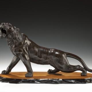 A Meiji period bronze of a snarling tiger