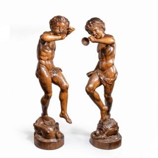 Two superb Italian pine Bacchanalian figures