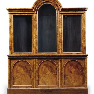 A burr-walnut Victorian bookcase