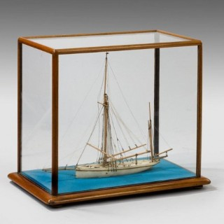 A fine alabaster model of a sailing yacht Jermaine.