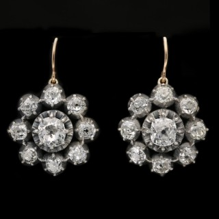Victorian diamond cluster earrings, circa 1890.