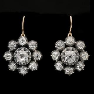 Victorian diamond cluster earrings, circa 1890.