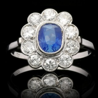 Art Deco Kashmir sapphire and diamond cluster ring, English, circa 1930.