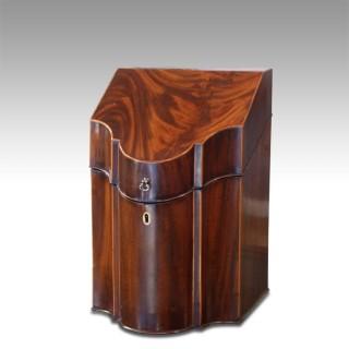 George III figured mahogany knife box